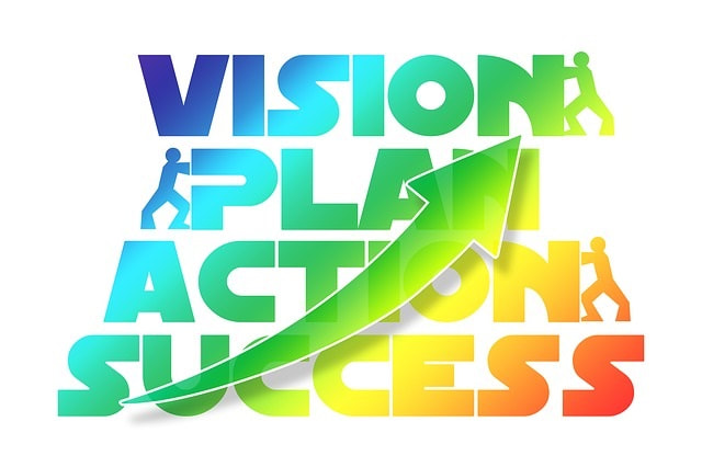 Image with the words vision plan action and success with an up arrow
