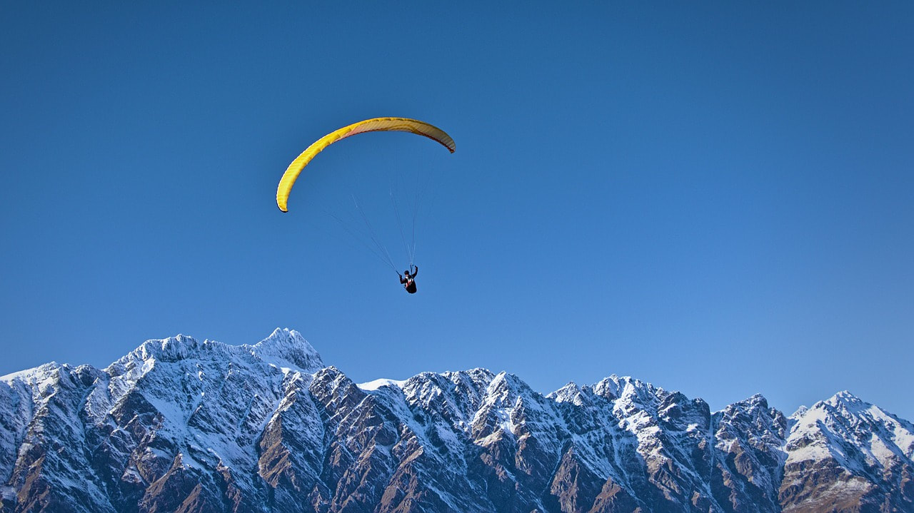 Parachute jump in the mountains